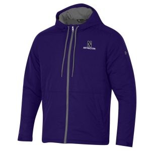 Northwestern University Wildcats Men's Under Armour Purple Coldgear Fleece -Lined Puffer Fullzip Hooded Jacket