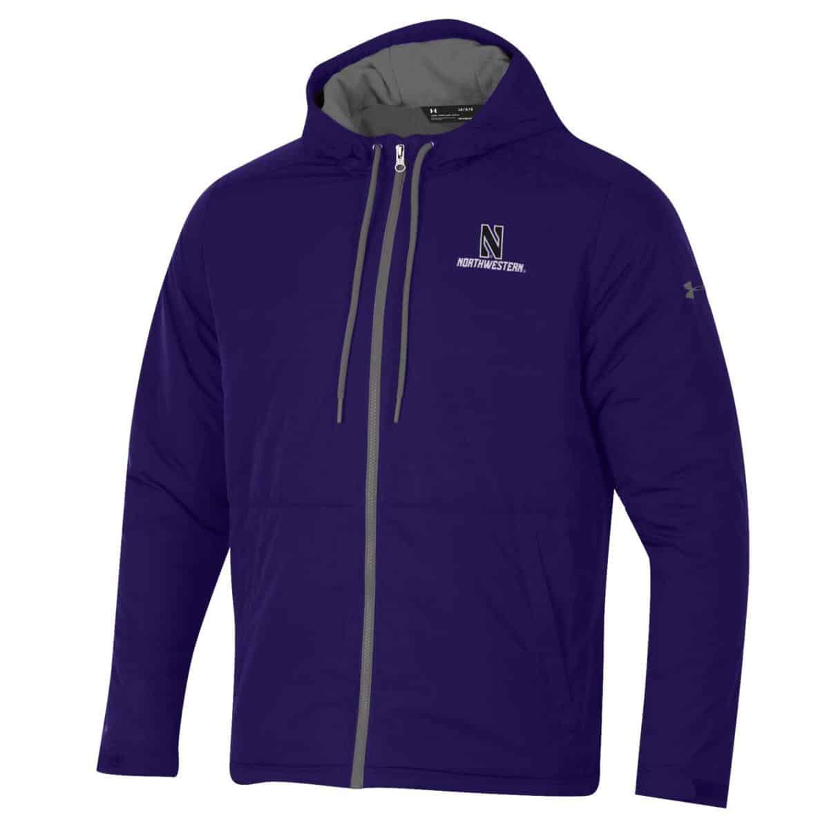 more photos 5c94b 9a7a6 Northwestern University Wildcats Men s Under Armour Purple Coldgear Fleece  -Lined Puffer Fullzip Hooded Jacket