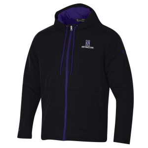 Northwestern University Wildcats Men's Under Armour Black Coldgear Fleece -Lined Puffer Fullzip Hooded Jacket