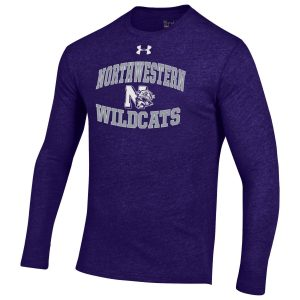 Northwestern Wildcats Men's Under Armour Triblend Purple Heather Long Sleeve Tee with Vintage N-Cat Design