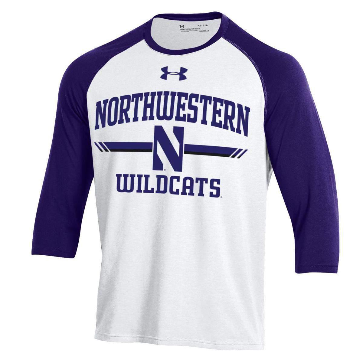 53f823b3f Northwestern University Wildcats Men's Under Armour Free Style Half Sleeve  Purple & White Baseball Tee