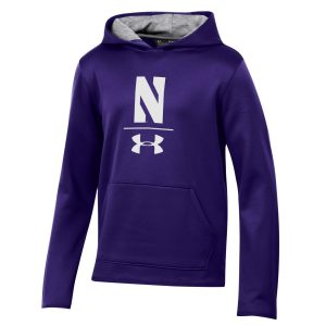 Northwestern University Wildcats Youth Under Armour Tactical Tech™ Purple Hooded Sweatshirt with Stylized N Design