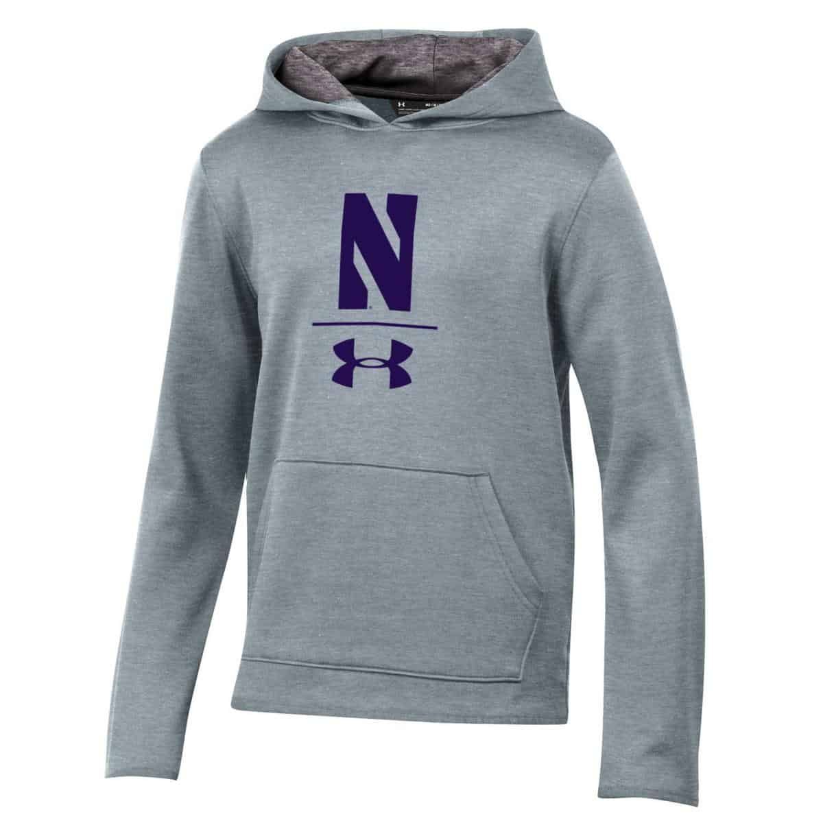 af492b7f3 Northwestern University Wildcats Youth Under Armour Tactical Tech™ Light  Grey Hooded Sweatshirt with Stylized N