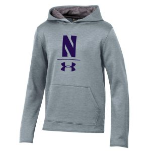 Northwestern University Wildcats Men's Under Armour Tactical Tech™ Light Grey Hooded Sweatshirt with Stylized N Design