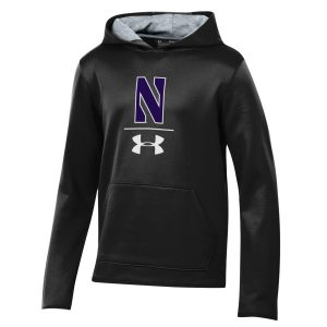 Northwestern University Wildcats Youth Under Armour Tactical Tech™ Black Hooded Sweatshirt with Stylized N Design