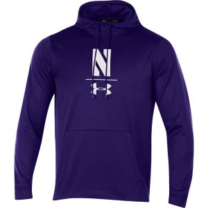 Northwestern University Wildcats Men's Under Armour Tactical Tech™ Purple Hooded Sweatshirt with Stylized N Design