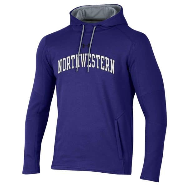 Northwestern University Wildcats Men's Under Threadborne Ridge Purple Hooded Sweatshirt with Arch Northwestern Design