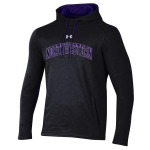 Northwestern University Wildcats Men's Under Threadborne Ridge Black Hooded Sweatshirt with Arch Northwestern Design