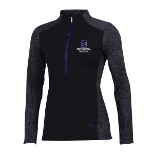 Northwestern University Wildcats Ladies Under Armour Coldgear Nodus Black 1/2 Zip