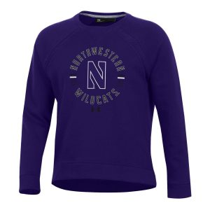 Northwestern University Wildcats Ladies Under Armour Threadborne Ridge Purple Crewneck Sweatshirt