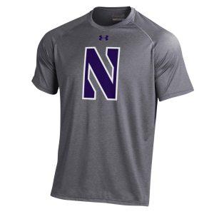 Northwestern University Wildcats Youth Under Armour Tactical Tech™ Dark Grey Short Sleeve T-Shirt with Stylized Northwestern N Design