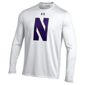 Northwestern University Wildcats Youth Under Armour Tactical Tech™ White Long Sleeve T-Shirt with Stylized Northwestern N Design