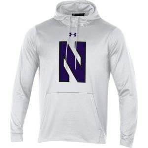Northwestern University Wildcats Youth Under Armour Tactical Tech™ White Hooded Sweatshirt with Stylized N Design