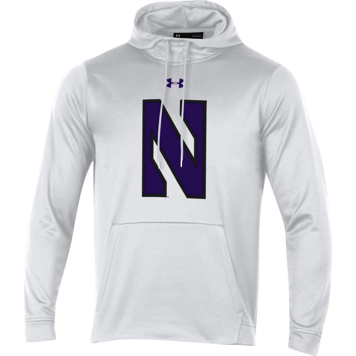 62edcb763 Northwestern University Wildcats Youth Under Armour Tactical Tech™ White  Hooded Sweatshirt with Stylized N Design