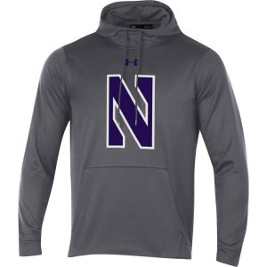 Northwestern University Wildcats Youth Under Armour Tactical Tech™ Dark Grey Hooded Sweatshirt with Stylized N Design