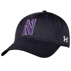8bb5509c1ef3a5 Northwestern University Wildcats Under Armour Adjustable Black Hat with  Stylized Northwestern N Design
