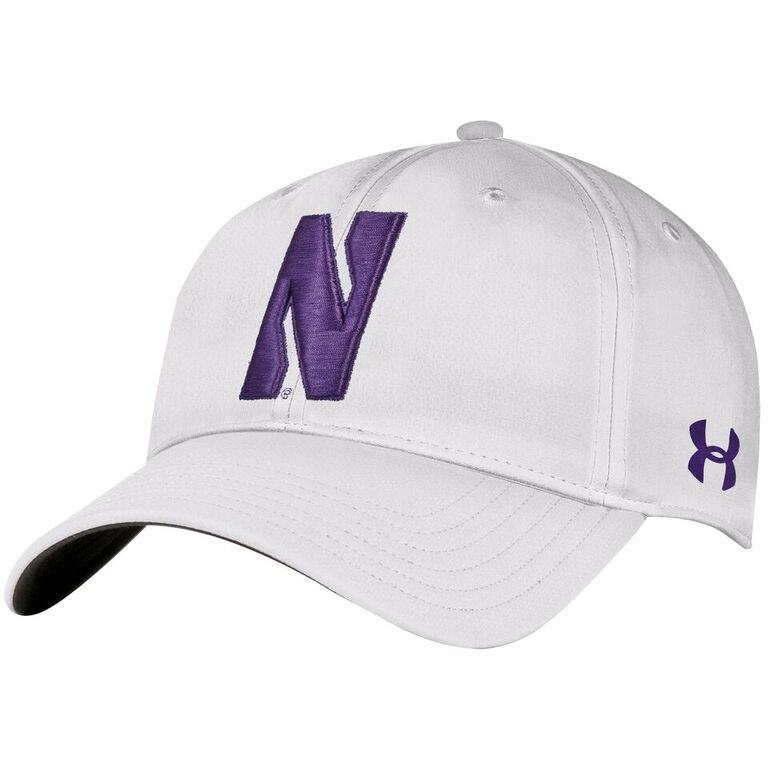 adb229d6 Northwestern University Wildcats Under Armour White Flexfit Hat with  Stylized Northwestern N Design