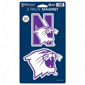 "Northwestern Wildcats 2 Pack Magnets 5"" x 9"" N-Cat & Cats Head Designs"