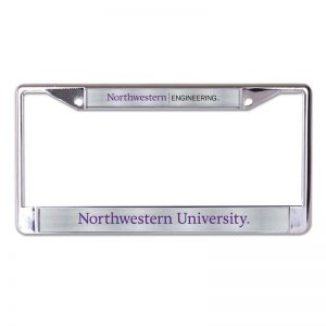 Northwestern Wildcats Chrome License Plate Frame with Laser Color Frost Northwestern/Engineering Inserts