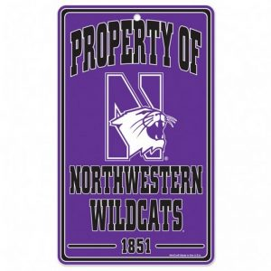 "Northwestern Wildcats 7.25"" x 12"" Property of Plastic Sign"