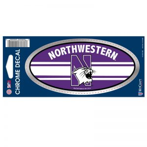 """Northwestern Wildcats Chrome Oval Decal with N-Cat Design 2.5""""X5.5"""""""