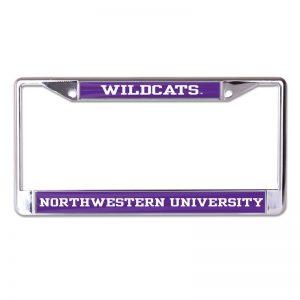 Northwestern Wildcats Chrome License Plate Frame with Purple Laser Cut Wildcats/Northwestern University Inserts