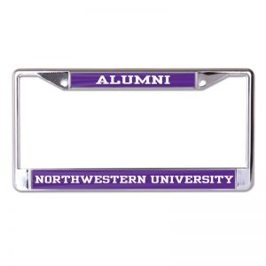 Northwestern Wildcats Chrome License Plate Frame with Purple Laser Cut Alumni/Northwestern University Inserts