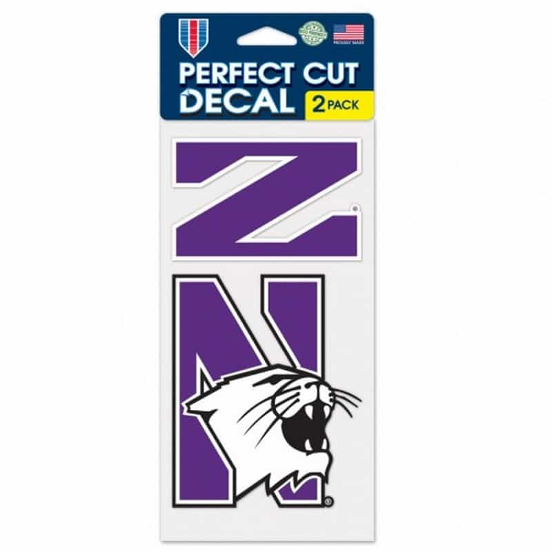 "Northwestern Wildcats Perfect Cut Decal Set of two 4"" x 4"" with Stylized N and N-Cat Design"
