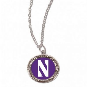 Northwestern Wildcats Necklace w/Purple Circular Charm and N design