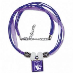 Northwestern Wildcats Lifetile Ribbon Necklace w/Beads & N-Cat Design