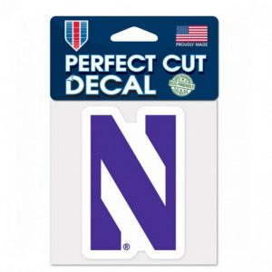 """Northwestern Wildcats Perfect Cut Color Decal 4"""" x 4"""" with Stylized N Design"""