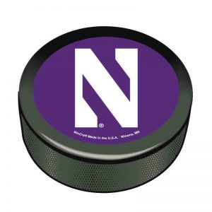 Northwestern Wildcats Hockey Puck with Stylized N Design