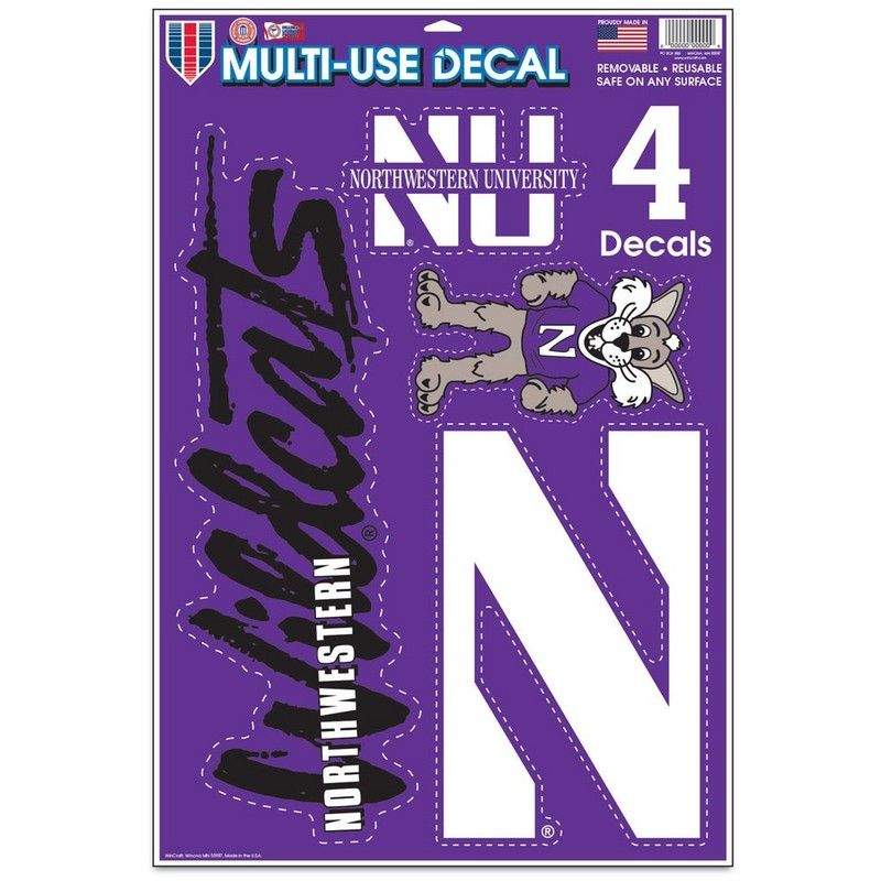 "Northwestern Wildcats Gang Sheet of Multi-Use Decal 11"" x 17"" with a Variety of Designs"