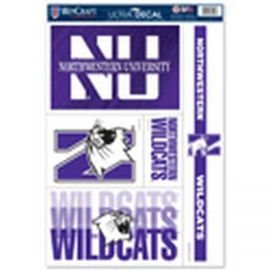 """Northwestern Wildcats Gang Sheet of Multi-Use Ultra Decal 11"""" x 17"""" with a Variety of Designs"""