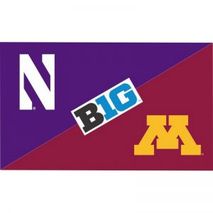 Northwestern Wildcats 3'X5' House Divided Flag with Minnesota Golden Gophers