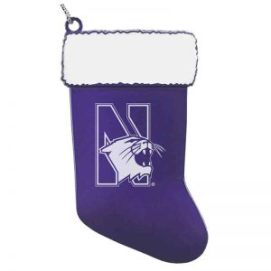 Northwestern University Wildcats Purple Stocking Pewter Ornament with Mascot Design