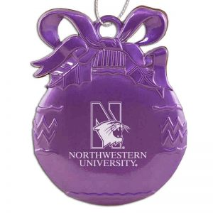Northwestern University Wildcats Purple Bulb Pewter Ornament with Mascot Design