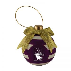 Northwestern University Wildcats Ceramic 3D Christmas Bulb Shaped Purple Ornament with Mascot Design