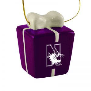 Northwestern University Wildcats Ceramic 3D Christmas Present Shaped Purple Ornament with Mascot Design