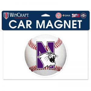 "Northwestern Wildcats Flexible Magnet with N-Cat Printed on a Multicolor Image of a SoftBall 6.1"" x 6.1"""