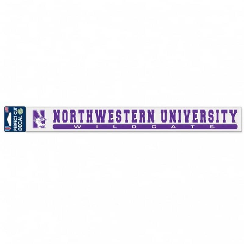 "Northwestern Wildcats Perfect Cut Long Decals 2"" x 17"" with N-cat & Northwestern Wildcats Design"