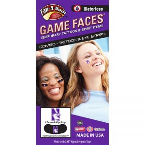 Northwestern Wildcats Waterless Peel & Stick Temporary Tattoos and Eye Strip Combo Pack