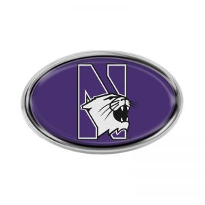 Northwestern Wildcats Oval Chrome Metal Domed Emblem With a Full Color Insert of N-Cat Design