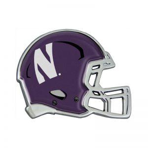 Northwestern Wildcats Chrome Metal Domed Auto Emblem With Helmet Design