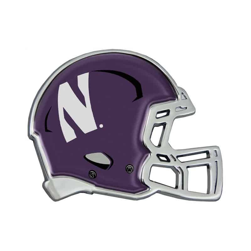Northwestern Wildcats Chrome Metal Domed Auto Emblem With Helmet Design