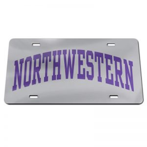 Northwestern Wildcats Thick Mirrored Acrylic License Plate with Purple Full Block Arched Northwestern Design