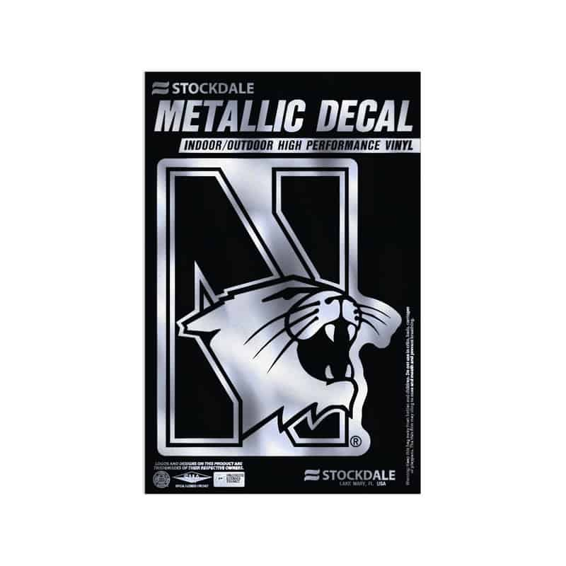 "Northwestern Wildcats Metallic Window Decals 3"" x 5"" with N-Cat Design"