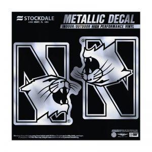 """Northwestern Wildcats Metallic Window Decals 6"""" x 6"""" with N-Cat Design"""