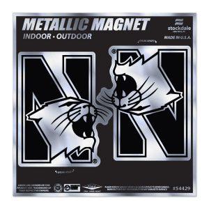 """Northwestern Wildcats Indoor/Outdoor Flexible Metallic Magnets Set of Two N-Cat Design 2.5""""X4"""""""