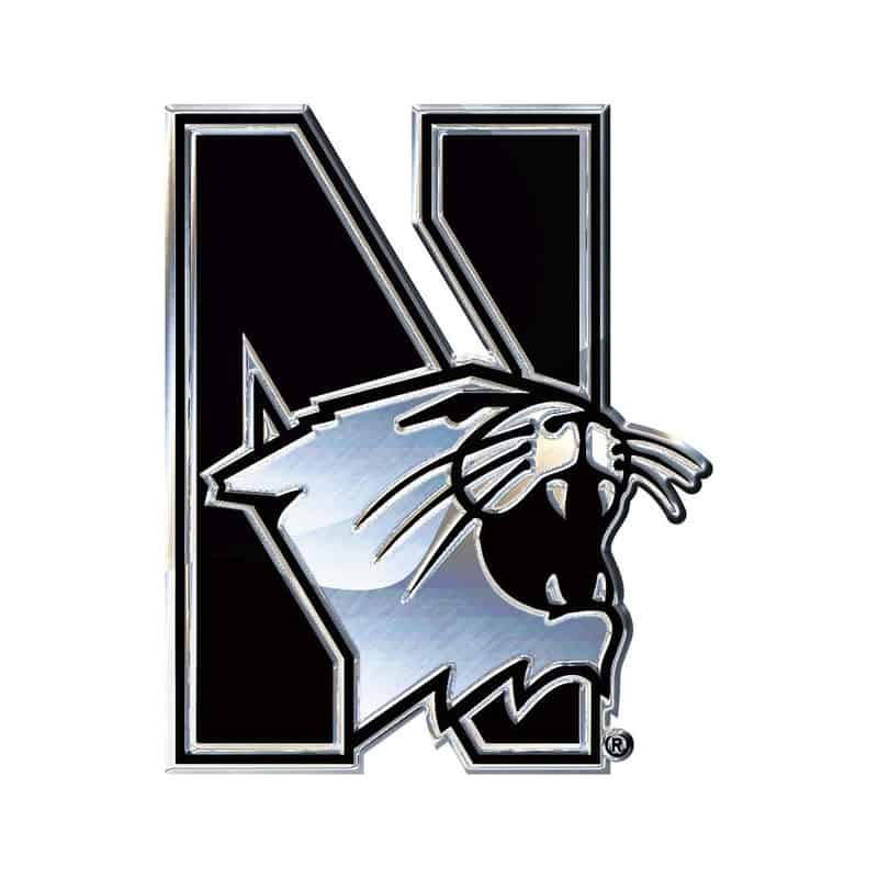 Northwestern Wildcats Chrome Free Form Auto Emblem with N-Cat Logo